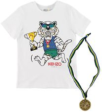 Kenzo T-shirt - Exclusive Edition - White/Blue w. Medal