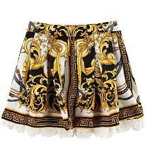 Versace Skirt - Silk - Black/White w. Gold Print