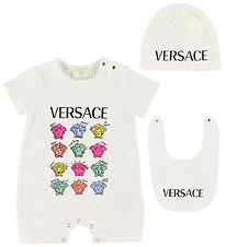 Versace Gift Box - Summer Romper/Beanie/Teething Bib - White w.