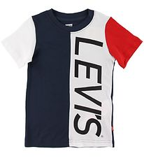 Levis T-shirt - Colorblocked - Navy/White w. Print