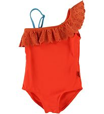 Molo Swimsuit - Net - Coral Red w. Lace