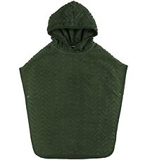 Filibabba Bath Poncho - Zigzag - 55x45 - Dark Green