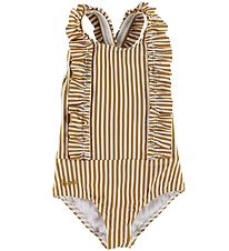 Liewood Swimsuit - Moa Seersucker - UV50+ - Mustard/White Stripe
