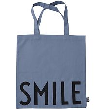 Design Letters Tote Bag - Smile - Dusty Blue