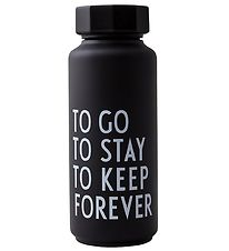 Design Letters Thermo Bottle - To Go To Stay - 500 ml - Black