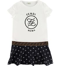 Fendi Dress - White/Black w. Logo
