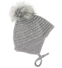 Melton Baby Hat w. Pom-Pom - Wool/Cotton - Gray