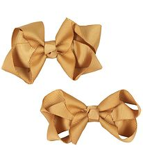 Bows By Stær Bow Hair Clips - 2-pack - 8 cm - Old Gold