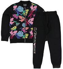 EA7 Tracksuit - Black/Fowers
