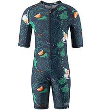 Reima Coverall Swimsuit s/s - Galapagos - UV50+ - Navy/Leaves