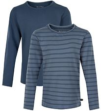 Minymo Long Sleeve Tops - 2-pack - New Navy w. Stripes