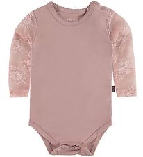 Little Wonders Bodysuit w. Lace Sleeves - Maja - Dusty Pink