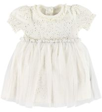 Little Wonders Bodysuit w. Skirt S/S - Bridgit - White w. Glitte
