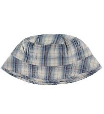 Wheat Bucket Hat - Blue/White w. Checks