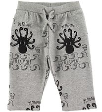Mini Rodini Sweatpants - Octopus - Grey w. Print