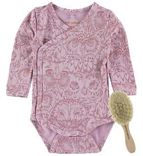 Soft Gallery Newborn Set - Wrap Bodysuit l/s + Hairbrush - Laven