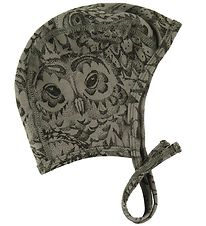 Soft Gallery Baby Hat - Hattie - Armygreen w. Owls