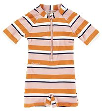 Liewood Coverall Swimsuit - Max - UV50+ - Pink/White/Brown Strip