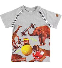 Hust and Claire T-shirt - Arthur - Grey Melange w. Animals