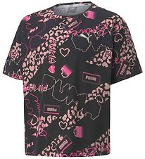 Puma T-shirt - Alpha AOP Tee - Black w. Hearts