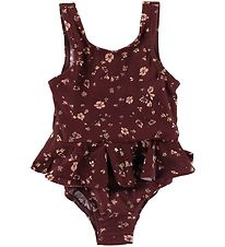 Soft Gallery Swimsuit - UV50+ - Glory - Oxblood Red/Flowery