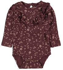 Soft Gallery Bodysuit l/s - Annie - Oxblood Red/Flowery