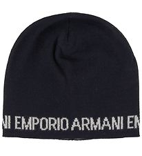Emporio Armani Hat - Knitted - Wool/Acrylic - Navy w. Text