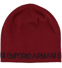 Emporio Armani Hat - Knitted - Wool/Acrylic - Dark Red w. Text