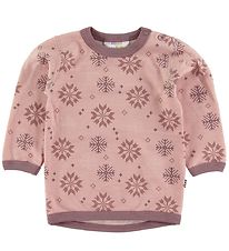 Joha Long Sleeve Top - Wool/Cotton - Pink w. Snowflakes
