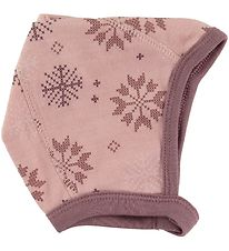 Joha Baby Hat - Wool/Cotton - Pink w. Snowflakes