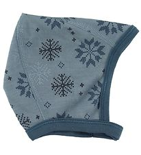 Joha Baby Hat - Wool/Cotton - Blue w. Snowflakes