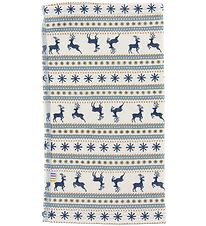 Joha Tube Scarf - Wool - White/Blue w. Pattern