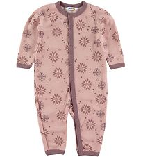Joha Jumpsuit - Wool/Cotton - Pink w. Snowflakes