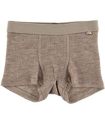 Joha Boxers - Rib - Wool/Silk - Brown Melange