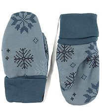 Joha Mittens - Wool/Cotton - Blue w. Snowflakes