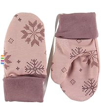 Joha Mittens - Wool/Cotton - Pink w. Snowflakes
