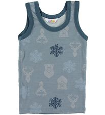 Joha Undershirt - Wool/Cotton - Blue Melange w. Snowflakes/Bears