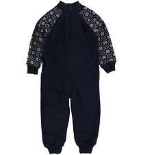 Joha Jumpsuit - Wool - Navy w. Pattern