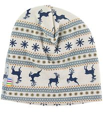 Joha Beanie - Double Layer - Wool - White/Blue w. Pattern