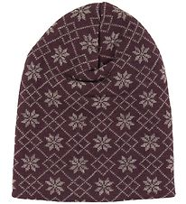 Joha Beanie - Double Layer - Wool - Purple w. Pattern