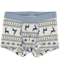 Joha Boxers - Wool - White/Blue w. Pattern