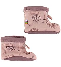 Joha Booties - Double Layer - Wool/Cotton - Pink w. Snowflakes