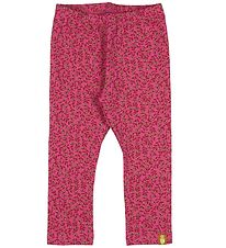 Danefæ Leggings - Andrea - Pink w. Flowers