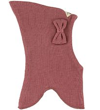 Racing Kids Balaclava - Wool/Cotton - Double Layer - Rose w. Bow