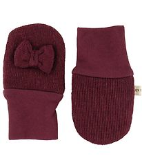 Racing Kids Mittens - Wool/Cotton - Bordeaux w. Bow