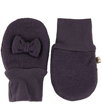 Racing Kids Mittens - Wool/Cotton - Purple w. Bow