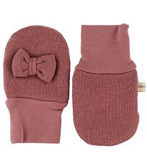 Racing Kids Mittens - Wool/Cotton - Rose w. Bow