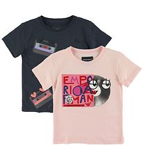 Emporio Armani T-shirts - 2-pack - Navy/Rose w. Print