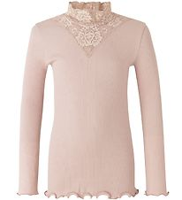 Rosemunde Long Sleeve Top - Rib - Vintage Powder w. Pointelle