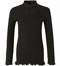 Rosemunde Long Sleeve Top - Rib - Black w. Pointelle